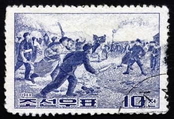 Postage stamp North Korea 1964 Kwangju Students' Uprising