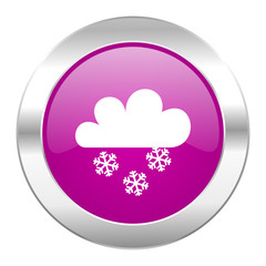 snowing violet circle chrome web icon isolated