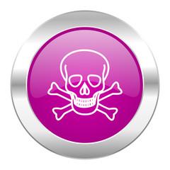 skull violet circle chrome web icon isolated