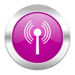 wifi violet circle chrome web icon isolated