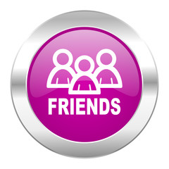 friends violet circle chrome web icon isolated
