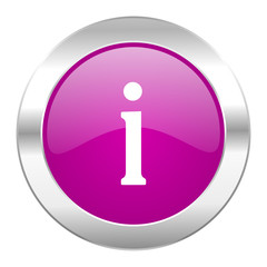 information violet circle chrome web icon isolated