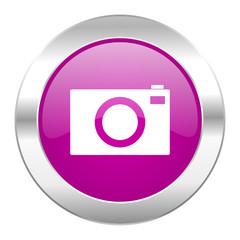 camera violet circle chrome web icon isolated