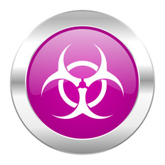 biohazard violet circle chrome web icon isolated