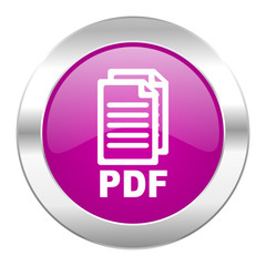 pdf violet circle chrome web icon isolated,