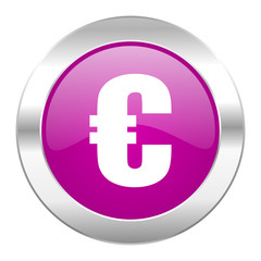 euro violet circle chrome web icon isolated