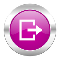 exit violet circle chrome web icon isolated