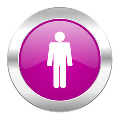 male violet circle chrome web icon isolated