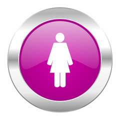 female violet circle chrome web icon isolated