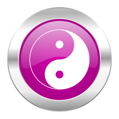 ying yang violet circle chrome web icon isolated