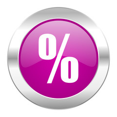 percent violet circle chrome web icon isolated