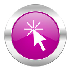 click here violet circle chrome web icon isolated