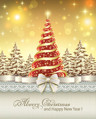 Christmas tree on the luminous radiant background