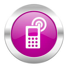 phone violet circle chrome web icon isolated