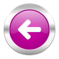 left arrow violet circle chrome web icon isolated