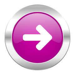 right arrow violet circle chrome web icon isolated