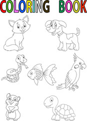 Cartoon pet coloring book