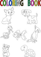 Cartoon pet coloring book