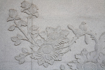 Traditional Thai Carving on the temple wall