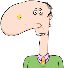 Man with big nose with zit