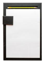 Black clipboard and pencil