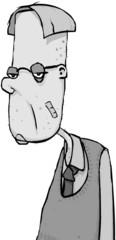 Bored Man Cartoon Character