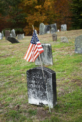 A Flag for an American War Hero in a Graveyard