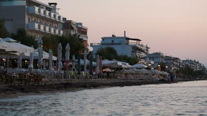 Coastal area of summer resort in the evening