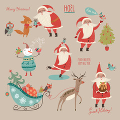 Stylish New Year and Christmas set in vector