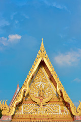 Gable apex Thai temple with blue sky