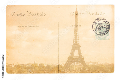 Fototapeta old Paris postcard