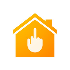 House icon with a hand