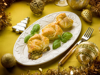 stuffed canape with pesto over christmas table