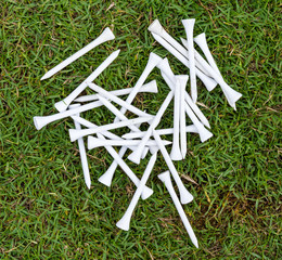 White wood tee on grass in golf course.