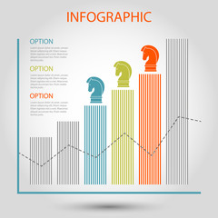vector striped bar growth graph - info chart template