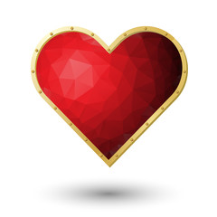 vector realistic red heart jewel with gold frame