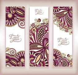 set of decorative flower template banner, card, web design