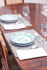 Vintage plates in table setting