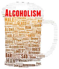 Alcoholism word cloud shape
