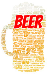 Beer word cloud shape