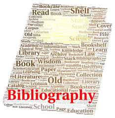 Bibliography word cloud shape