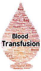 Blood transfusion word cloud shape
