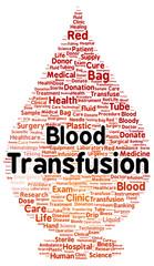Blood transfusion word cloud shape
