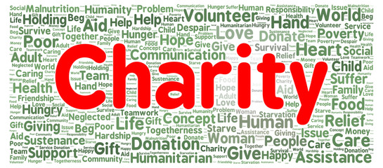 Charity word cloud shape