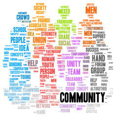 Community word cloud shape