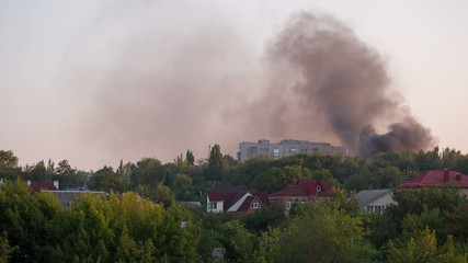 City on Fire after the Artillery Strike in Donetsk