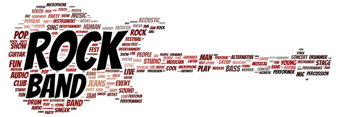 Rock band word cloud shape