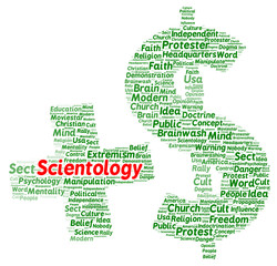 Scientology word cloud shape