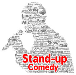 Stand-up comedy word cloud shape