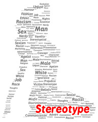 Stereotype word cloud shape